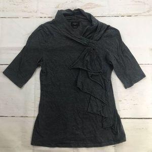 Anthro Deletta Gray 1/4 sleeve shirt with tie neck